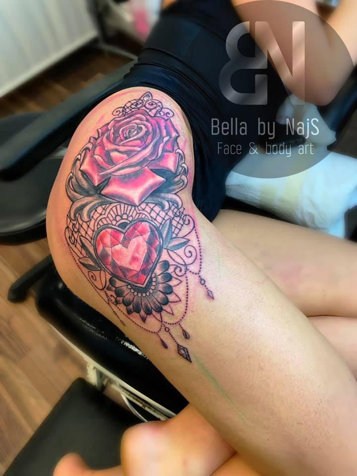 Flower & Heart Tattoo