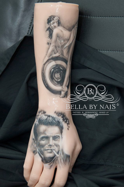 Pin-up und James Dean Sketch Tattoo