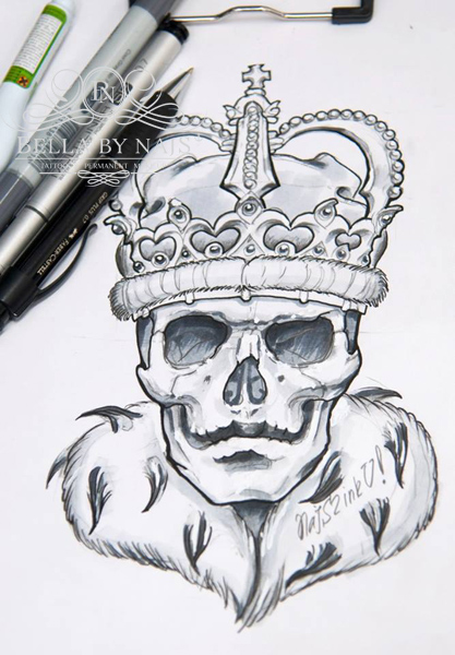 Skull King Sketch Tattoo Motiv